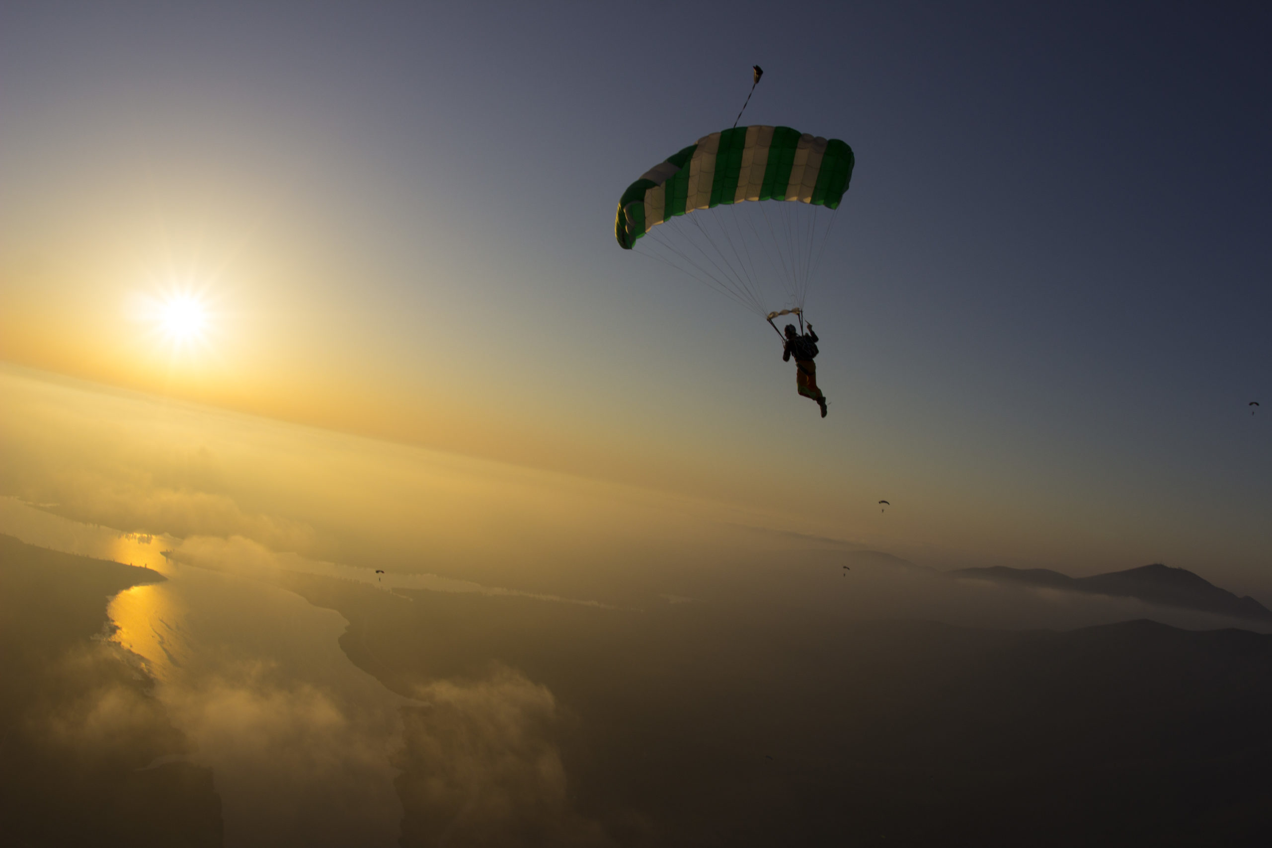 skydiving in sunset