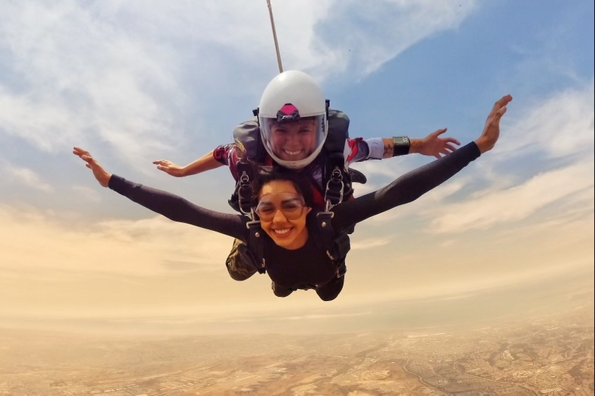 two women skydiving at skydive san diego